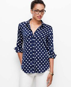 CDC LS Camp Shirt in Small Stepped Dot.. Dots for fall 2014.. Wear casual or dress it up...