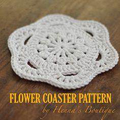 Crochet Coaster Pattern Flower Coaster PDF by hennasboutique