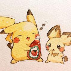 I am big but I still laugh when the ketchup bottle Farts Pikachu Pikachu, Pikachu Mignon, Chibi Kawaii, Cute Chibi, Kawaii Anime, Pokemon Fan Art, Pokemon Funny, Cute Animal Drawings, Cute Drawings