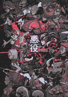 "Illustration for the book ""Villanos"" of the Comic Ink convention, where every artist of the artist alley made a rendition of their favorite villain character. Wallpaper Animes, Pop Art Wallpaper, Anime Kunst, Art Anime, Cyberpunk Kunst, Manga Japan, Japon Illustration, Artist Alley, Samurai Art"