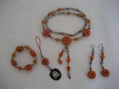 SALE Halloween jewelry set necklace bracelet earrings by feltinga, $27.92