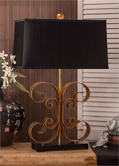 Antique Gold Scroll Lamp