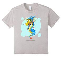 Kids Dragon Cartoon T-Shirt 10 Silver morenodesign…