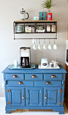 Colorful farmhouse/industrial Coffee Bar