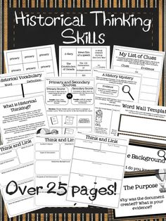 "This link is to a site that contains dozens of activities that pursue historical thinking skills. Items such as comparing primary vs. secondary sources and ""clues"" for credible resources can be found here. 6th Grade Social Studies, Social Studies Classroom, Social Studies Activities, History Classroom, History Education, Teaching Social Studies, History Teachers, Teaching History, Teaching Tools"