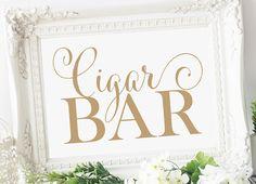 Cigar Bar Sign - 5 x 7 - DIY Printable sign in Bella antique gold - PDF and JPG files - Instant Download von CharmingEndeavours auf Etsy https://www.etsy.com/de/listing/207389597/cigar-bar-sign-5-x-7-diy-printable-sign