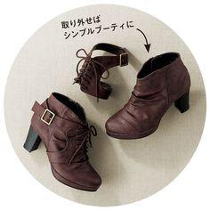 2WAYショートブーツ(ワイズ4E) 通販 【ニッセン】 婦人靴・靴(シューズ) ブーツ ショートブーツ