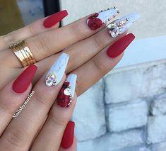 @nailsbymztina Red & white nails with Swarovski nail design