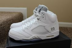 NIKE AIR JORDAN 5 RETRO WHITE METALLIC SILVER  any size any color #Nike #AthleticSneakers