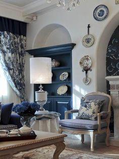 Classic blue & white living room.