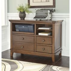 Lowest price online on all Ashley Burkesville Home Office Cabinet in Medium Brown - H565-40