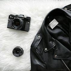 flatlay, zara, jacket, allblack, old camera, favorite, rock, minimal style, fashion, basics