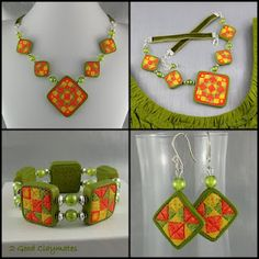 Quilt block inspired necklace, earrings and bracelet set in Tangerine Tango, Solar Power and Lime Green