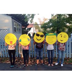 This year my amigas and I decided to do a group costs as emojis' I thought I'd share it with you What you will need •yellow poster board •sharp knife •paint •sharpie •hole puncher •pencil •string Draw a circle on ur board and cut it out with a knife *don't do this on carpet or rug! Do it outside * Draw ur emoji with pencil on your board I did this one: Trace in sharpie Paint what needs to be painted I had to paint the tears blue Hole punch a hole String thread through it Done :)