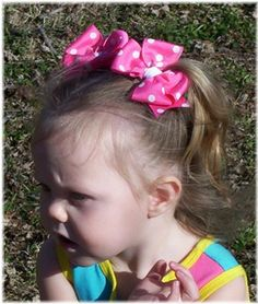 (hurry up and grow hair, baby!!!) Violet Polka Dot Clippy (priced per bow)