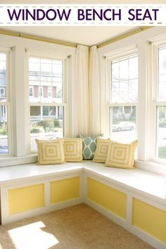 Learn how to make this DIY Window Seat bench home project that took this family room makeover from dreary to cheery. #homeremodel #homeremodeling #eastcoastcreative Corner Bench Seating, Window Benches, Window Seats, Window Seat Kitchen, Muebles Living, My New Room, Home Projects, Home Remodeling, House Design