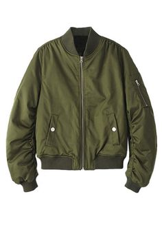 Close-up of moss green bomber jacket