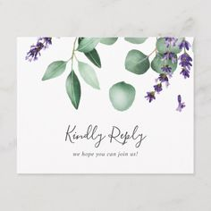 Rustic Lavender Menu Choice RSVP Postcard We share the best of boho wedding inspiration styled shoots engagements styling ideas real weddings decor save the date cards invitations favors and more. Postcard Wedding Invitation, Spring Wedding Invitations, Destination Wedding Invitations, Wedding Rsvp, Wedding Place Cards, Wedding Guest Book, Wedding Themes, Engagement Invitations, Wedding Stationery
