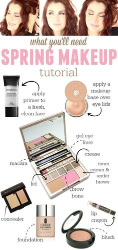 Everything you'll need for a simple spring makeup look. Pretty browns and pinks - perfect for the season!