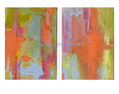 Orange Blue Green Small Abstract Oil Painting by WildFernFarm