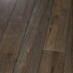 """Show details for Homerwood Prefinished Character Hickory Graphite- 4"""" Dark brown hardwood with gray tint, wide plank"""
