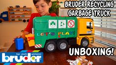 GARBAGE TRUCK Videos For CHILDREN l Bruder RECYCLING TRUCK 4143 Unboxing...