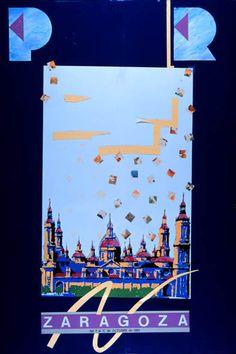 Cartel a concurso del Pilar año 1989 Titulo: Pilar en azul