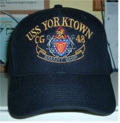 USS YORKTOWN CG 48 w  CREST and SMART SHIP IN THE SCROLL. HATS OFF · US  MILITARY CUSTOM ... 150bf1912438