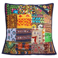 """Indian Cushion Case Kutch Embroidered Mirror Work Patchwork Pillow Cover 18""""  -  Ebay $14.00"""