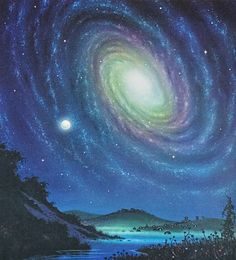 David Hardy - Night Scene (from The New Challenge of the Stars by Patrick Moore & David Hardy 1977)