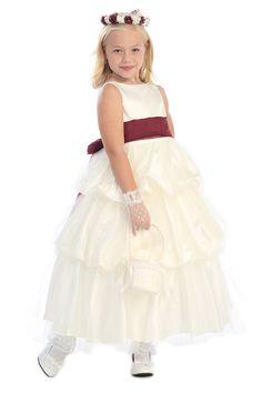 Ivory/Burgundty Satin And Tulle Layered Dress with Detachable Sash A-3498-BG A3498-BG $60.95 on www.GirlsDressLine.Com