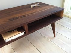 Mid century modern coffee table black walnut with by scottcassin