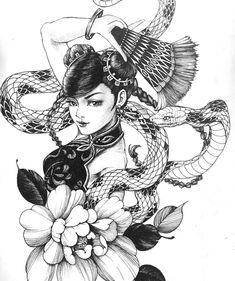 Black Tattoos, Body Art Tattoos, Geisha Tattoo Design, Dark Art Paintings, Female Ninja, Irezumi, Japanese Art, Sketches, Artist