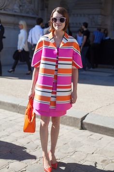 Stripes in street style. Ella Caitlif from La Petite Anglaise blog at Paris Fashion Week Spring 2015 #pfw #lapetiteanglaise