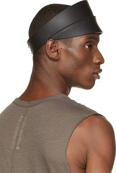Rick Owens Black Leather Visor