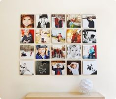 Square photographs on photo wall