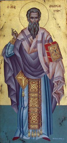 Saint Andreas the Archbishop of Crete Raphael Angel, Archangel Raphael, Byzantine Icons, Byzantine Art, Religious Paintings, Religious Art, Orthodox Icons, Creta, Painting Workshop