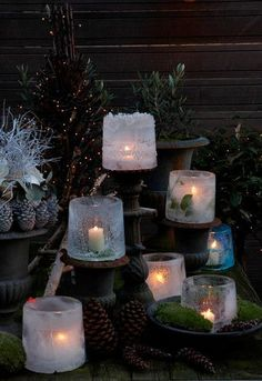 Eislaterne - Candles and Lanterns - Noel Best Outdoor Christmas Decorations, Elegant Christmas Decor, Decoration Christmas, Noel Christmas, Country Christmas, Winter Christmas, All Things Christmas, Christmas Lights, Christmas Crafts