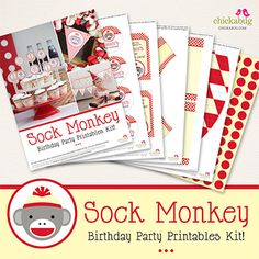 Sock monkey party printables collection from Chickabug - 35 pages of printables to create a beautiful party!