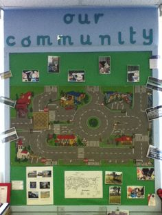 Make your own local community board. Using an old car mat, drawings and photographs. EYFS Links: Understanding The World Eyfs Activities, Nursery Activities, Community Boards, Community Helpers, Transport Topics, Road Transport, Eyfs Classroom, Classroom Displays Eyfs, Planning School
