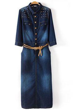 Dark Blue Spike Shoulder Denim Dress