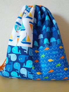 Patchwork drawstring backpack, gym bag, day travel bag with pockets for children, cotton fabric and canvas cotton
