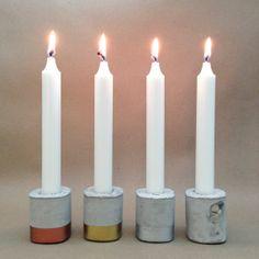 Beton und Metall Gold Kupfer Silber Kerzenständer  von Reconsiderit,