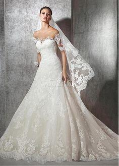 Robe de mariée avec manches a-ligne sexy appliques décoration dentelle - photo 1