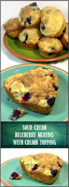 """Sour Cream Blueberry Muffins INCREDIBLY Moist fluffy and creamy. A wonderful tip for extracting the most juicy flavor from the blueberries and just a great recipe for beautiful golden brown delicious fluffy tender muffins! Try them """"Mini"""" Muffin size and watch them disappear! A real Crowd Pleaser!"""