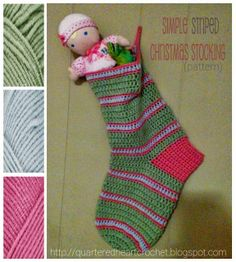 Quartered Heart Crochet: (New FREE Pattern) Simple Striped Crochet Christmas Stocking - Fit for a Tween!