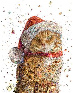 """A mosaic portrait of Bob the cat for the Christmas cover of Big Issue magazine in the UK.  Best viewed large. Attention: Big file. (6947 x 8800 = 23.2"""" x 29.3"""" @ 300 ppi)  Made with custom developed scripts, hacks and lots of love, using my Mac, Studio Artist, the Adobe Creative Suite and good Xmas music.  See all my Editorial Illustrations.  Many thanks to Scott Maclean and everyone @ Big Issue."""