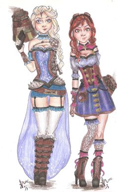 Disney Princess Steampunk   Elsa and Anna by VianaDrawings   Elsa and Anna in my steampunk version of Frozen! Inspired from their original clothes.  Drawings