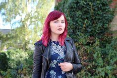 Paige Joanna Black leather jacket and Bontanical Flowers yumi dress