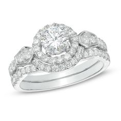 1-1/4 CT. T.W. Diamond Frame Bridal Set in 14K White Gold - View All Rings